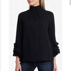 VINCE CAMUTO High-Neck Ruffle-Sleeve Blouse